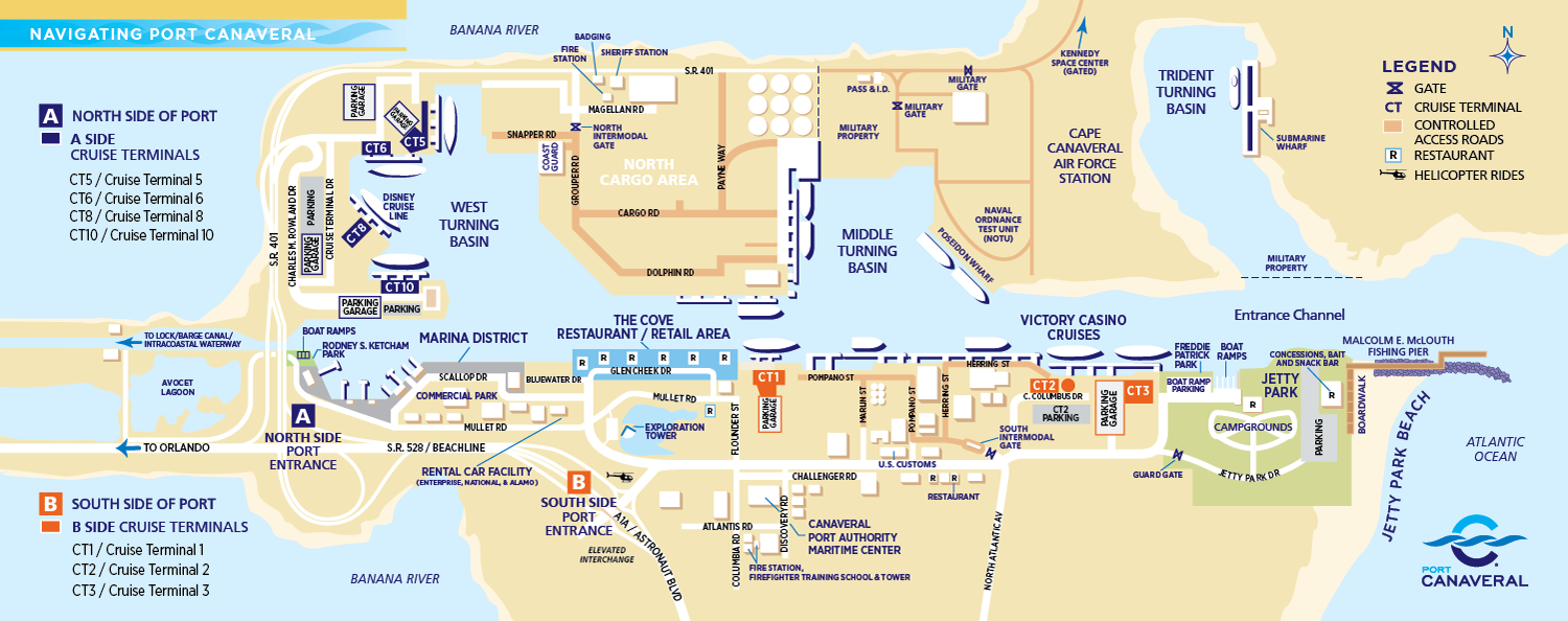Port Canaveral Florida Map Port Canaveral Cruise Parking